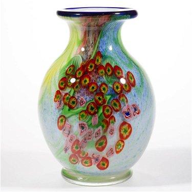 MURANO TORCHWORK AND MILLEFIORI ART GLASS VASE