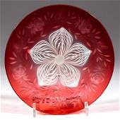 DURAND PULLED FEATHER ART GLASS PLATE
