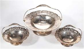 CHINESE EXPORT RETICULATED STERLING SILVER BASKETS SET