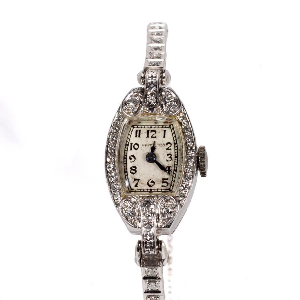 VINTAGE HAMILTON 17-JEWEL PLATINUM AND DIAMOND LADY'S