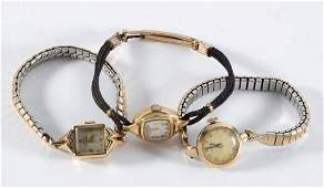 VINTAGE GOLD CASE LADYS WRIST WATCHES LOT OF THREE