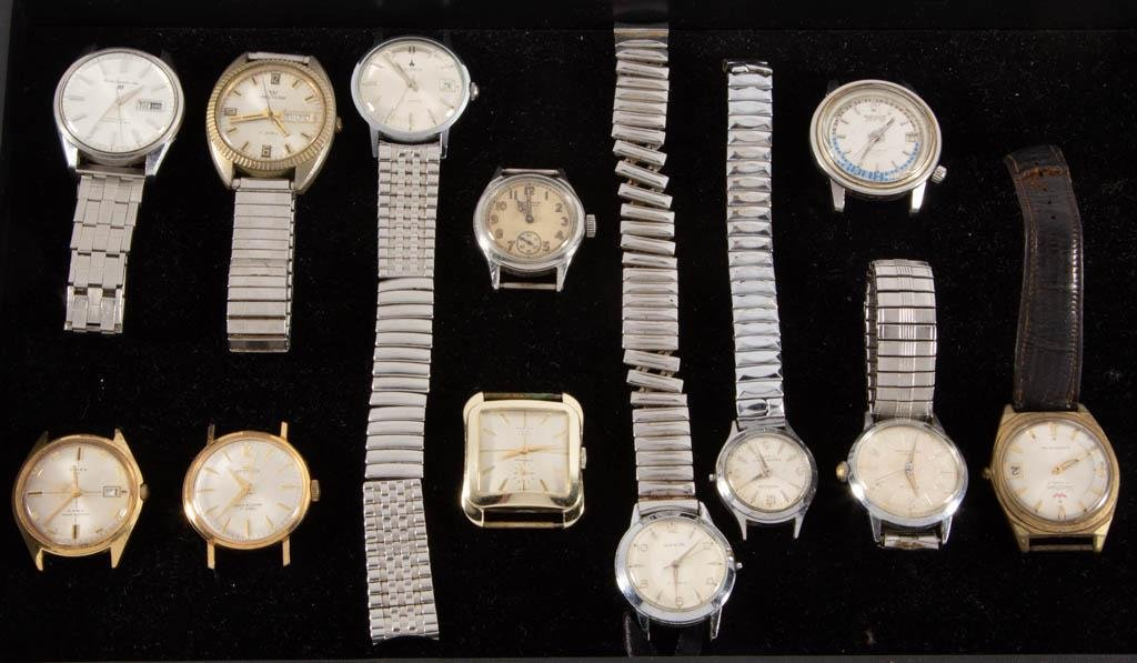 ASSORTED VINTAGE 21- AND 17-JEWEL MEN'S WRIST WATCHES,