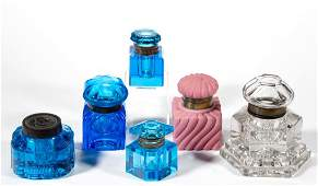 ASSORTED VICTORIAN GLASS INKWELLS, LOT OF SIX
