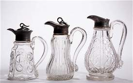 ASSORTED BLOWN-MOLDED MOLASSES / SYRUP PITCHERS, LOT OF