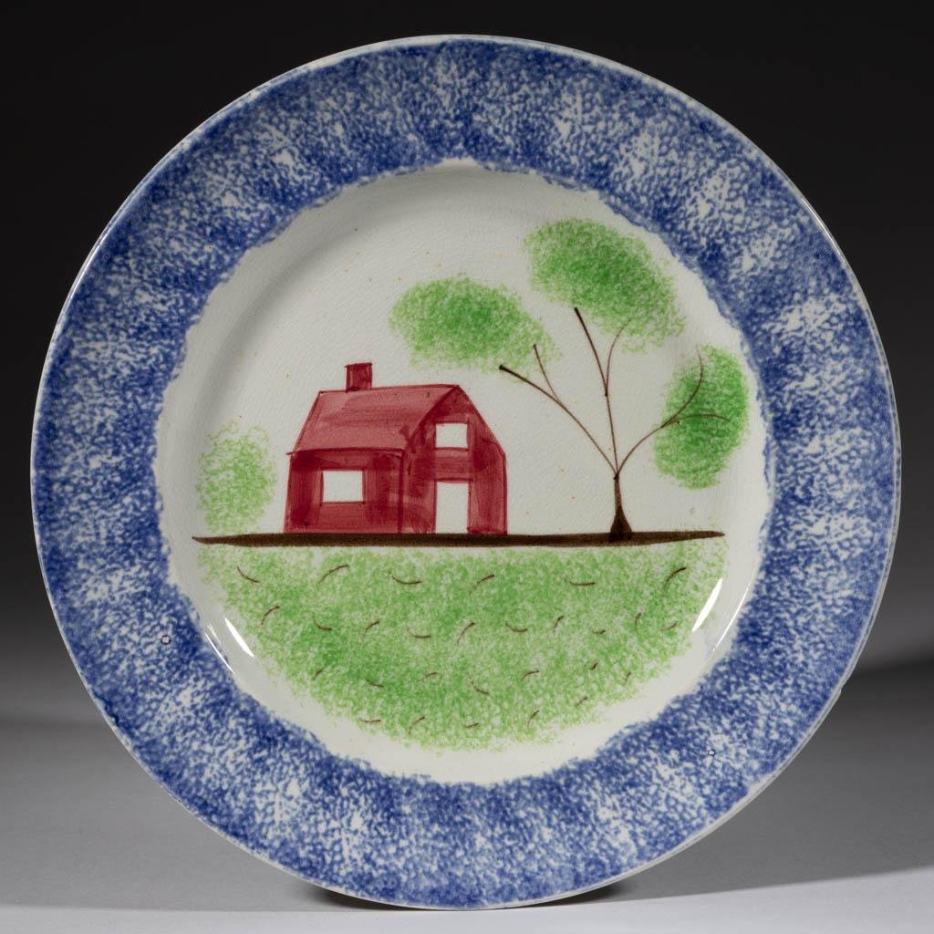 ENGLISH SPATTERWARE SCHOOLHOUSE CERAMIC PLATE