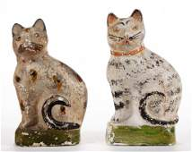 PENNSYLVANIA PAINTED CHALKWARE CAT FIGURES, LOT OF TWO
