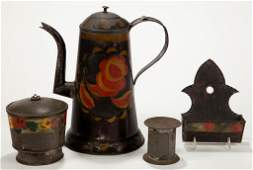 AMERICAN PAINT-DECORATED TOLE ARTICLES, LOT OF THREE