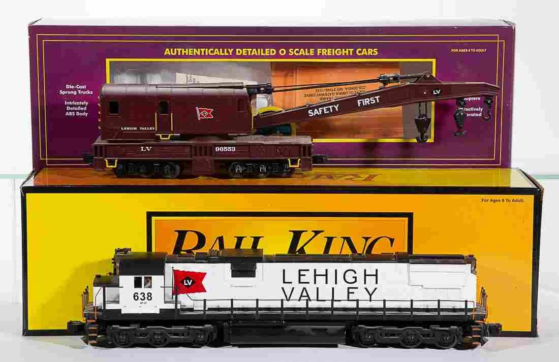 ASSORTED M.T.H. / RAIL KING LEHIGH VALLEY O-GAUGE CARS,
