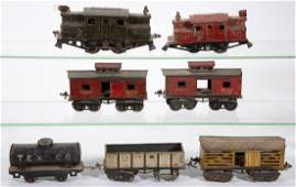 ASSORTED IVES  LIONEL OGAUGE CARS LOT OF SEVEN
