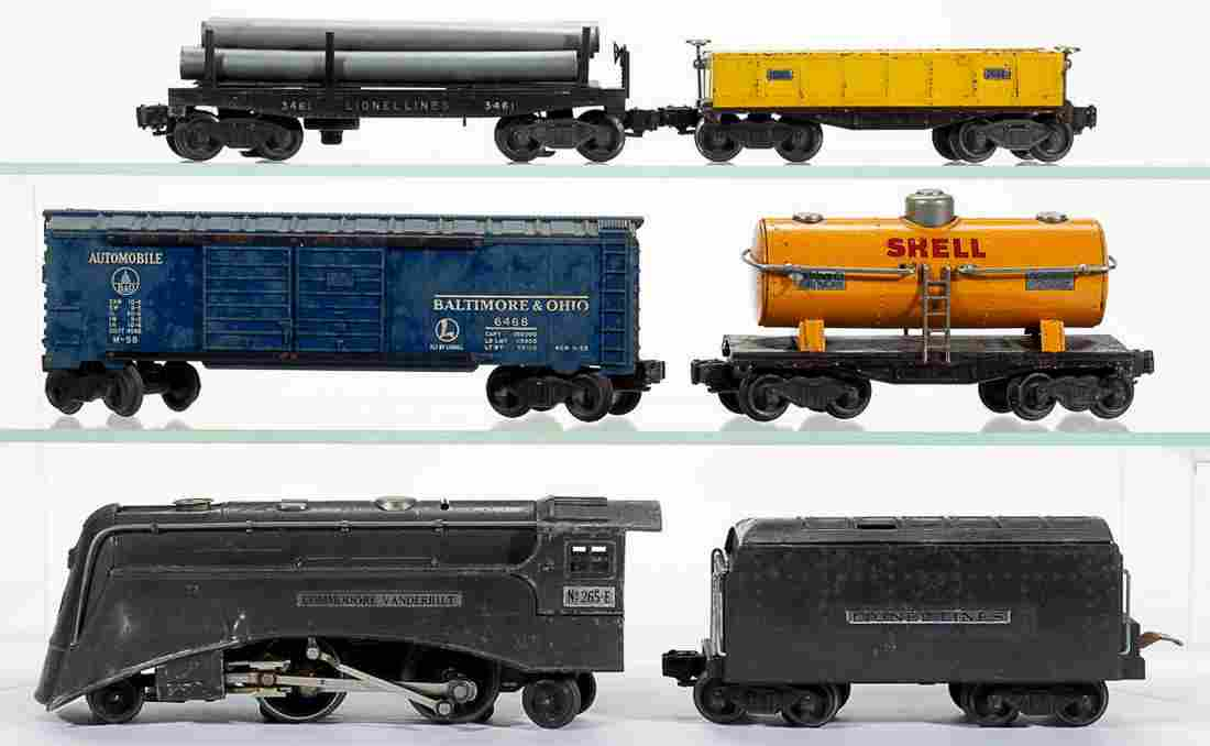 LIONEL O-GAUGE LOCOMOTIVE AND FREIGHT CARS, LOT OF SIX