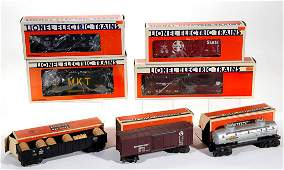 LIONEL O-GAUGE FREIGHT CARS, LOT OF SEVEN