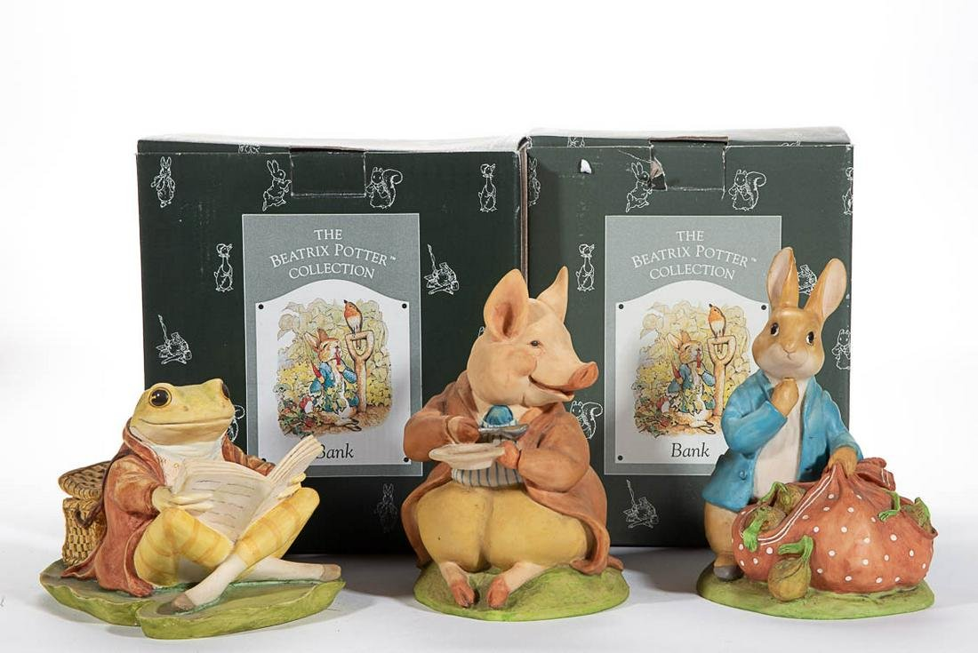"CHARPENTE ""BEATRIX POTTER"" RESIN FIGURAL BANKS, LOT OF"