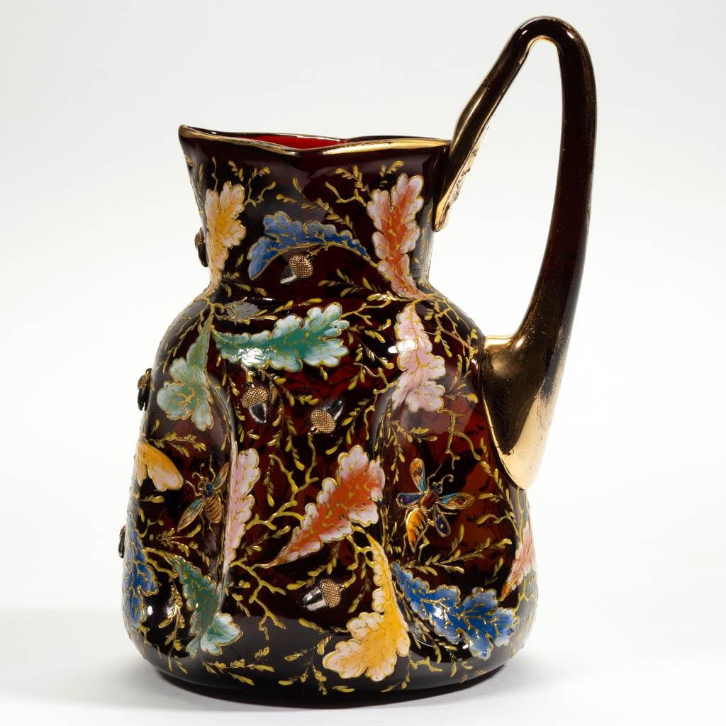 MOSER ATTRIBUTED ACORNS ENAMEL-DECORATED PITCHER