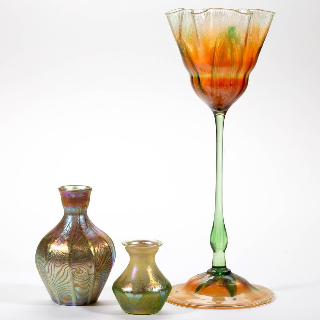 ASSORTED TIFFANY FAVRILE ART GLASS VASES, LOT OF THREE