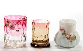 ASSORTED GLASS TOOTHPICK HOLDERS LOT OF THREE