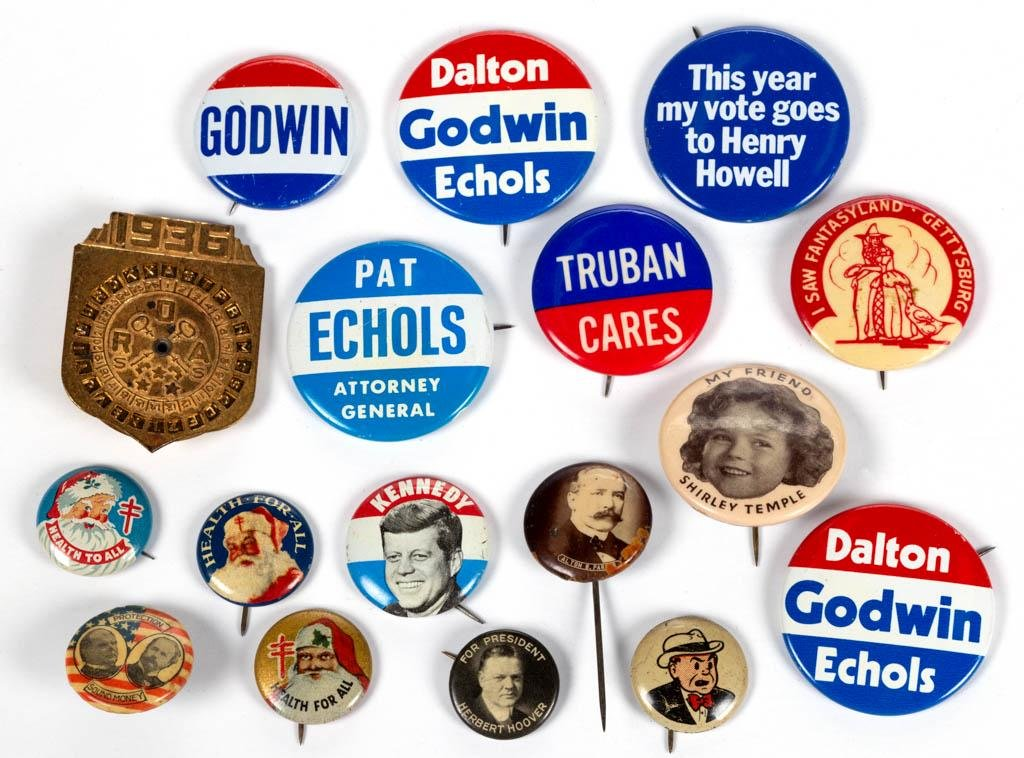 ASSORTED PINBACK BUTTONS, LOT OF 17