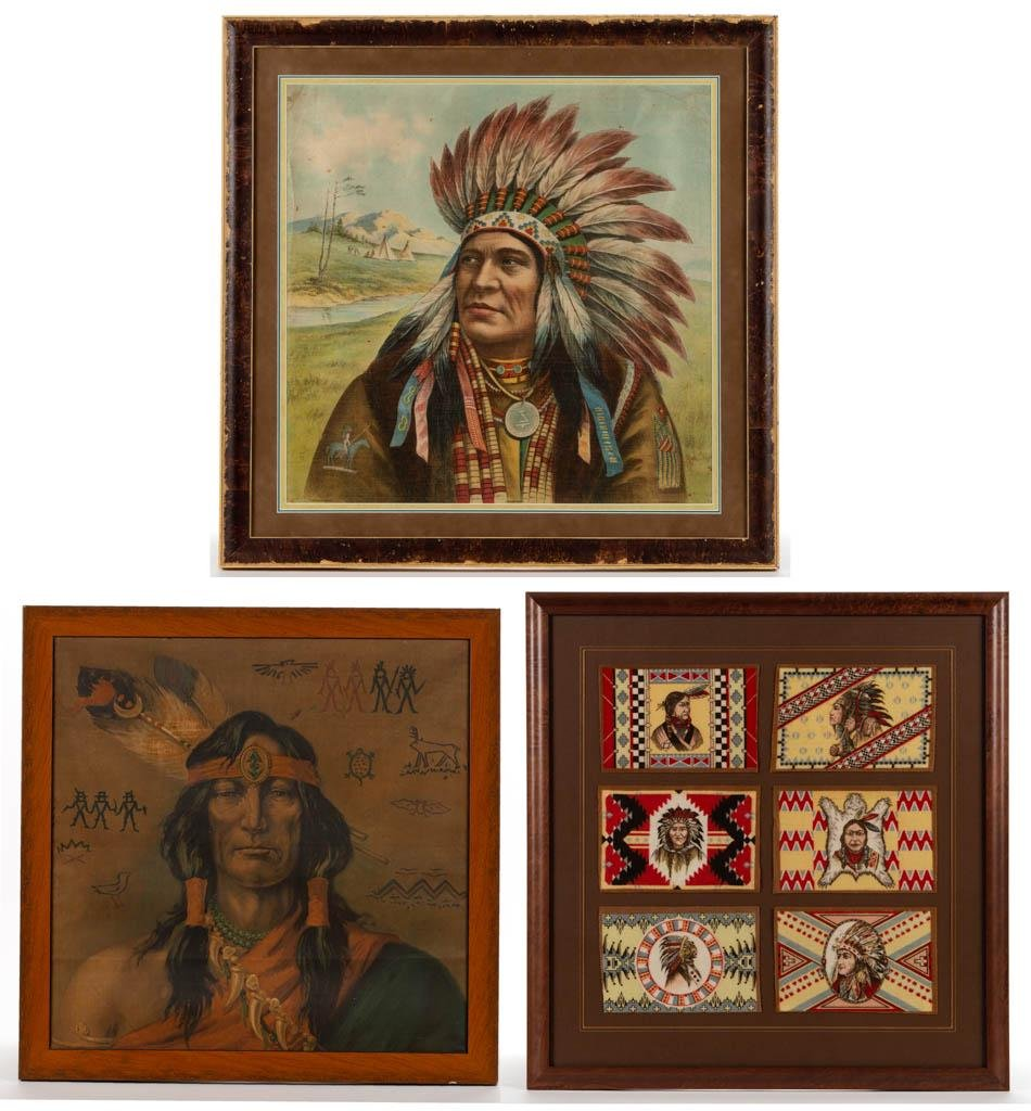 "SCHWAB & WOLF ""INDIAN CHIEF"" LITHOGRAPH PILLOW COVER /"