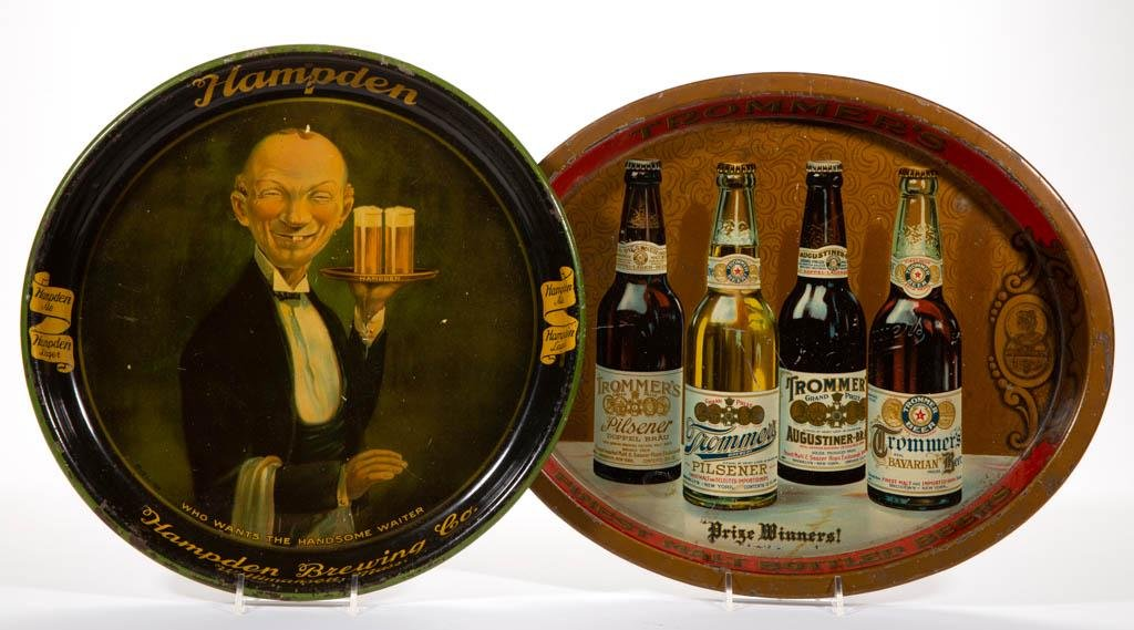 ANTIQUE BREWERY ADVERTISING TIN SERVING TRAYS, LOT OF