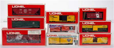 LIONEL O-GAUGE LOCOMOTIVE AND FREIGHT CARS, LOT OF NINE