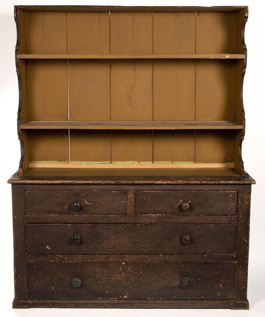 NEW ENGLAND PAINTED PINE DISH CUPBOARD