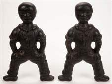 FOLK ART / BLACK AMERICANA FIGURAL CAST-IRON ANDIRONS,