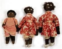 BLACK AMERICANA CLOTH DOLLS LOT OF THREE