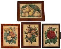 CURRIER  IVES FLORAL AND FRUIT PRINTS LOT OF FOUR