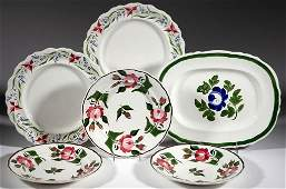 ENGLISH STAFFORDSHIRE HAND-PAINTED FLORAL IRONSTONE