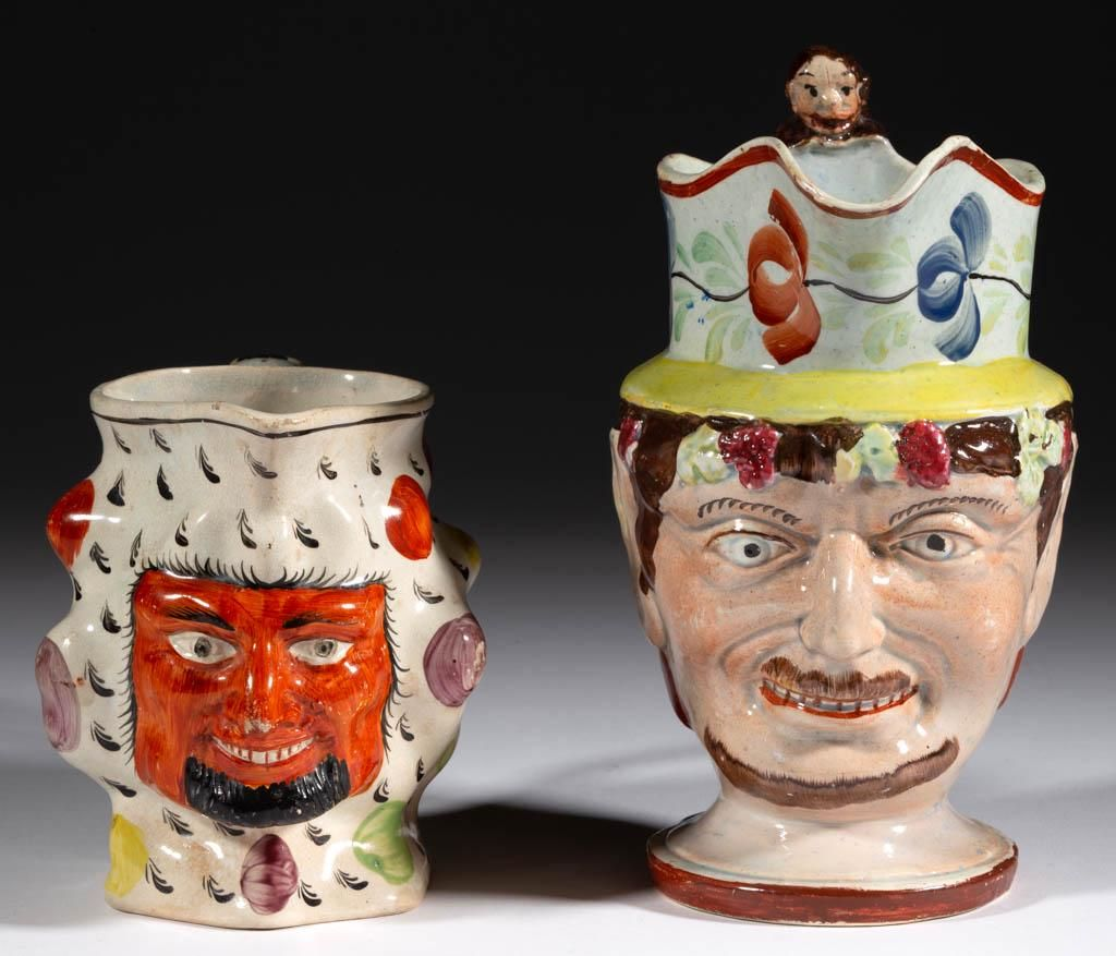 ENGLISH CERAMIC FACE JUGS / PITCHERS, LOT OF TWO