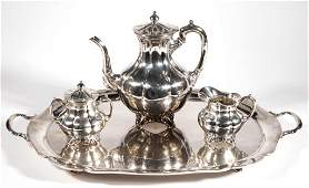 MEXICAN STERLING SILVER THREE-PIECE COFFEE SERVICE