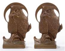 PAIR OF ART NOUVEAU BRONZE FIGURAL OWL BOOKENDS