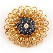 VINTAGE 14K YELLOW GOLD DIAMOND AND SAPPHIRE BROOCH