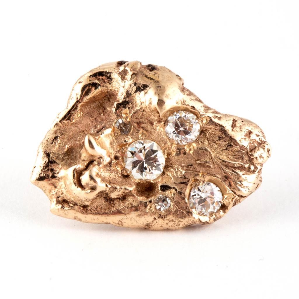VINTAGE 14K YELLOW GOLD AND DIAMOND NUGGET-FORM PIN /