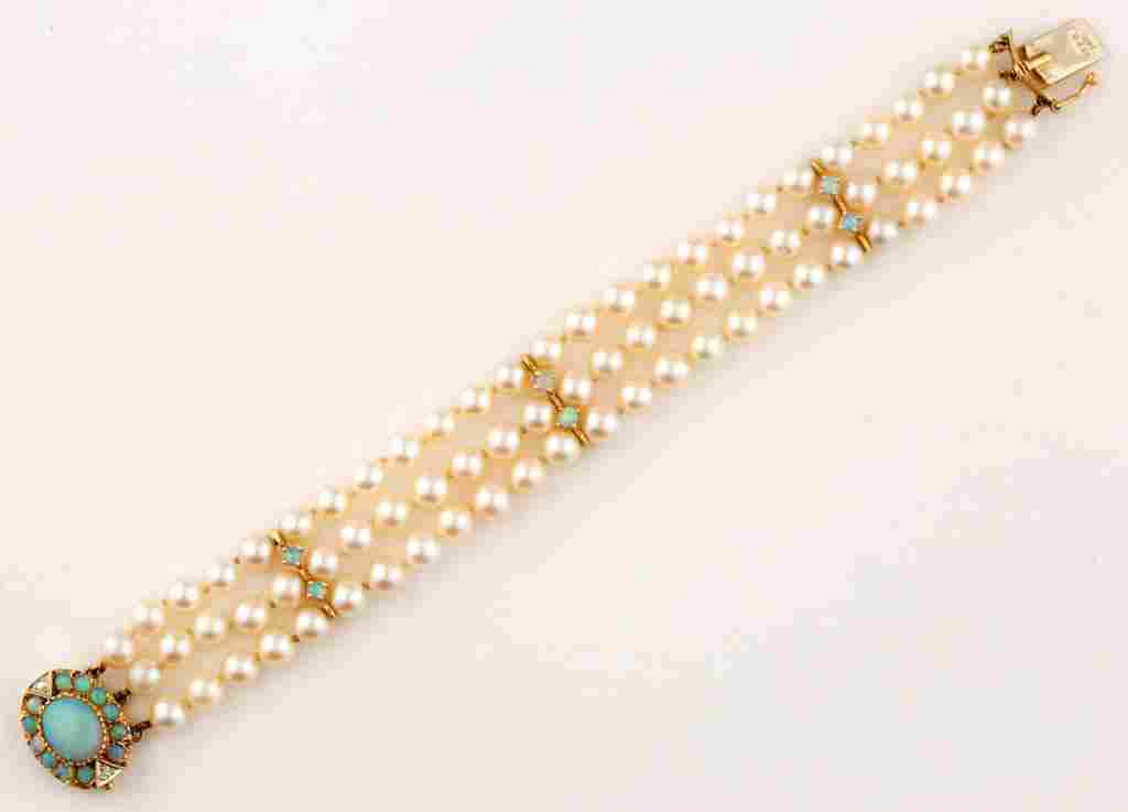VINTAGE 14K YELLOW GOLD, PEARL, AND OPAL BRACELET