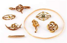 ANTIQUE  VINTAGE GOLD JEWELRY LOT OF EIGHT