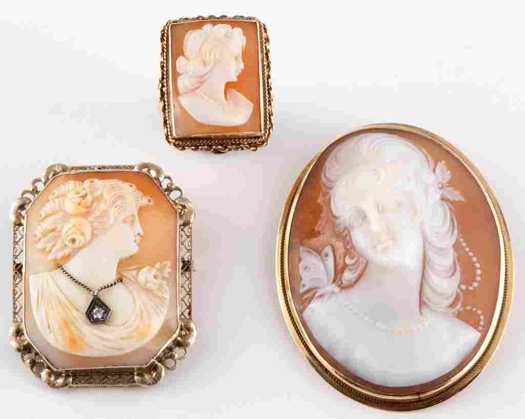 ANTIQUE / VINTAGE 14K GOLD AND CARVED SHELL CAMEO