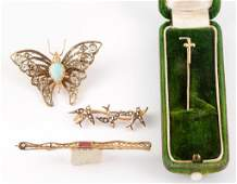 ANTIQUE  VINTAGE YELLOW GOLD BROOCHES AND PINS LOT OF
