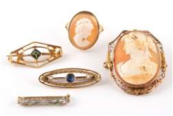 ANTIQUE / VINTAGE GOLD JEWELRY, LOT OF FIVE