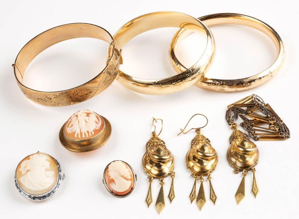 ANTIQUE / VINTAGE GOLD-FILLED AND OTHER JEWELRY, LOT OF