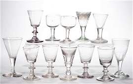 ASSORTED FREE-BLOWN DRINKING ARTICLES, LOT OF 12