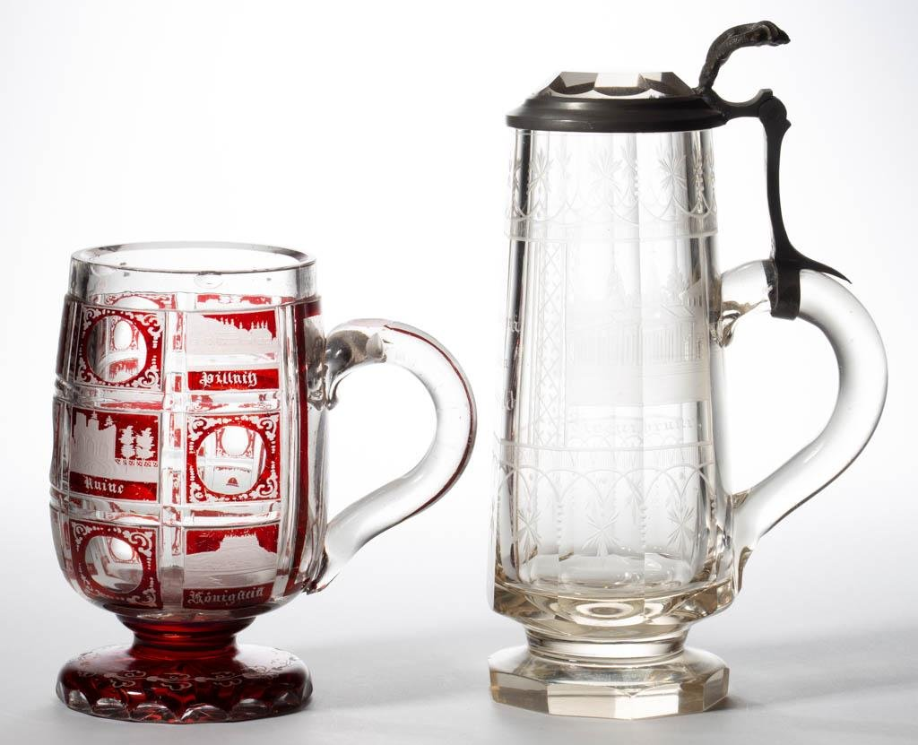 ASSORTED BOHEMIAN CUT GLASS DRINKING ARTICLES, LOT OF