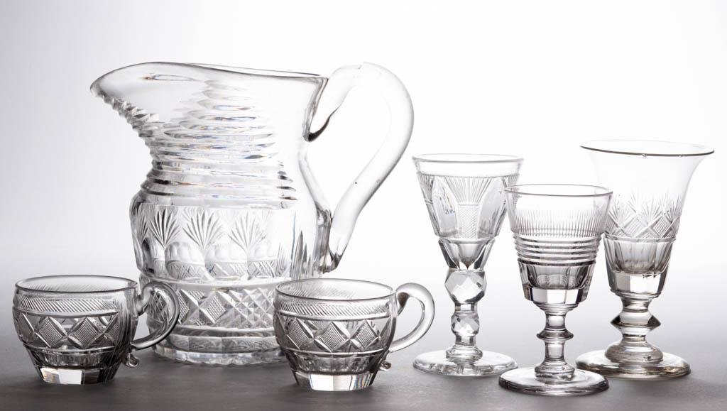 ASSORTED EARLY CUT GLASS DRINKING ARTICLES, LOT OF SIX