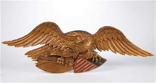AMERICAN FOLK ART CARVED AND PAINTED EAGLE WALL PLAQUE