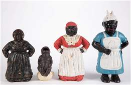 ASSORTED BLACK AMERICANA CASTIRON FIGURES LOT OF FOUR