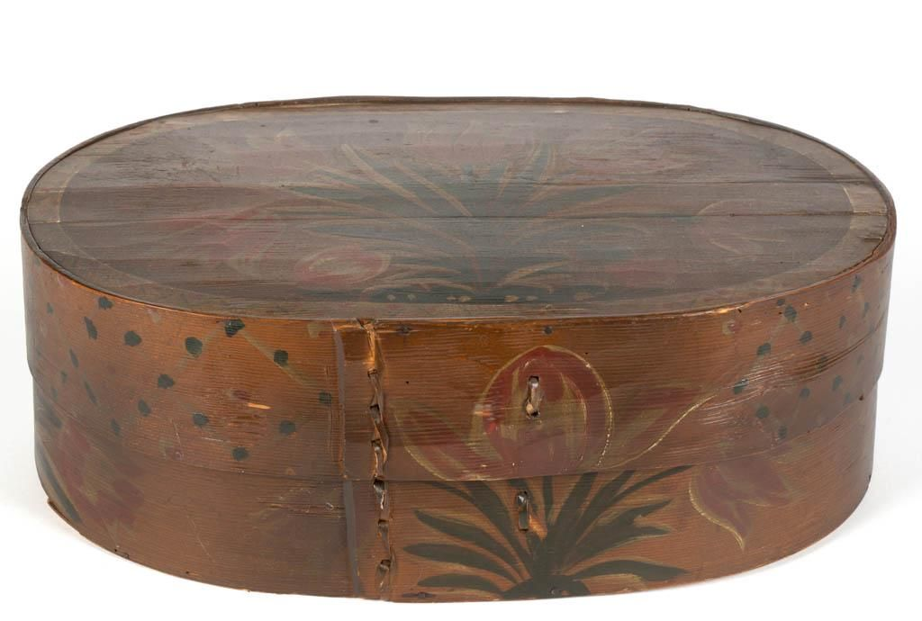 POLYCHROME-PAINT DECORATED PINE BAND BOX