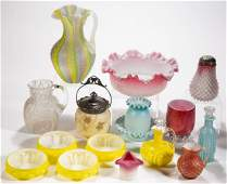 ASSORTED VICTORIAN GLASS ARTICLES, LOT OF 15