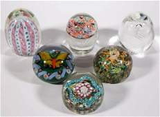 ASSORTED GLASS PAPERWEIGHTS, LOT OF SIX