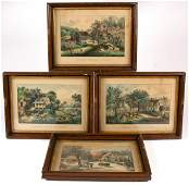 CURRIER  IVES AMERICAN HOMESTEAD PRINTS LOT OF FOUR