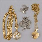 VINTAGE 14K AND 18K GOLD NECKLACES LOT OF FOUR