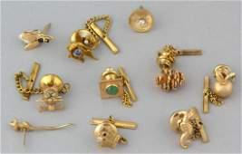 VINTAGE 14K YELLOW GOLD PINS / TIE TACKS, LOT OF TEN